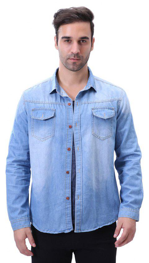 Fashion Pocket Decorations for Men'S Long Sleeved Jeans Shirt - MEDIUM BLUE 5XL