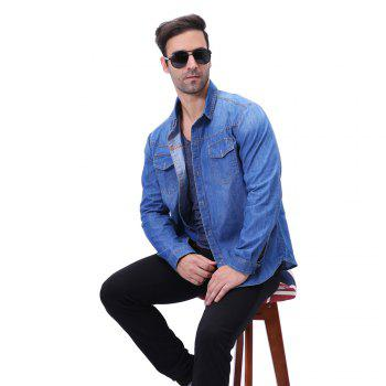 Fashion Pocket Decorations for Men'S Long Sleeved Jeans Shirt - CERULEAN CERULEAN
