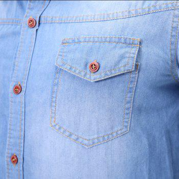 Fashion Pocket Decorations for Men'S Long Sleeved Jeans Shirt - MEDIUM BLUE XL