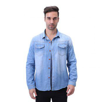 Fashion Pocket Decorations for Men'S Long Sleeved Jeans Shirt - MEDIUM BLUE MEDIUM BLUE