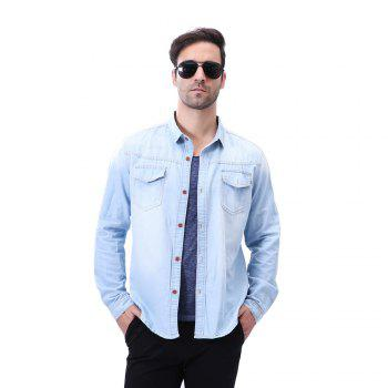 Fashion Pocket Decorations for Men'S Long Sleeved Jeans Shirt - LIGHT BULE XL