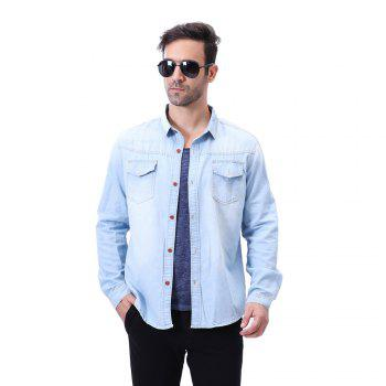 Fashion Pocket Decorations for Men'S Long Sleeved Jeans Shirt - LIGHT BULE LIGHT BULE