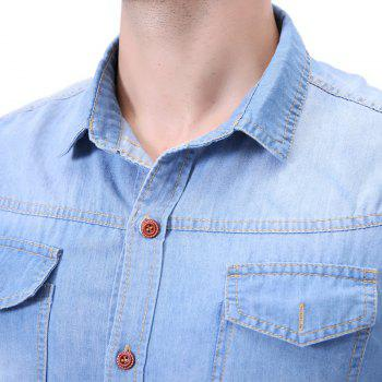 Fashion Pocket Decorations for Men'S Long Sleeved Jeans Shirt - MEDIUM BLUE M