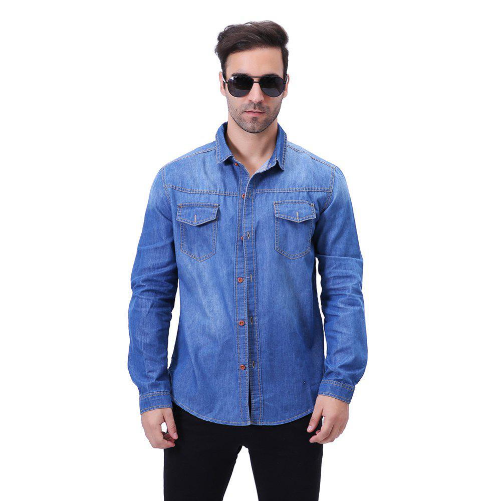 Fashion Pocket Decorations for Men'S Long Sleeved Jeans Shirt - CERULEAN 4XL