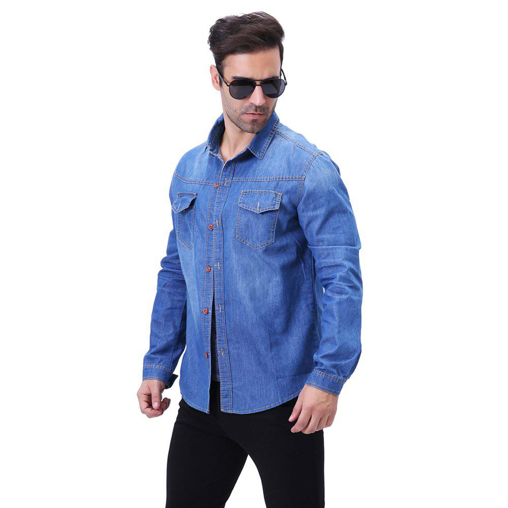 Fashion Pocket Decorations for Men'S Long Sleeved Jeans Shirt - CERULEAN L