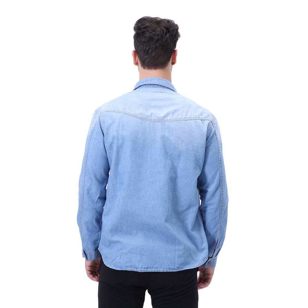 Fashion Pocket Decorations for Men'S Long Sleeved Jeans Shirt - MEDIUM BLUE 2XL