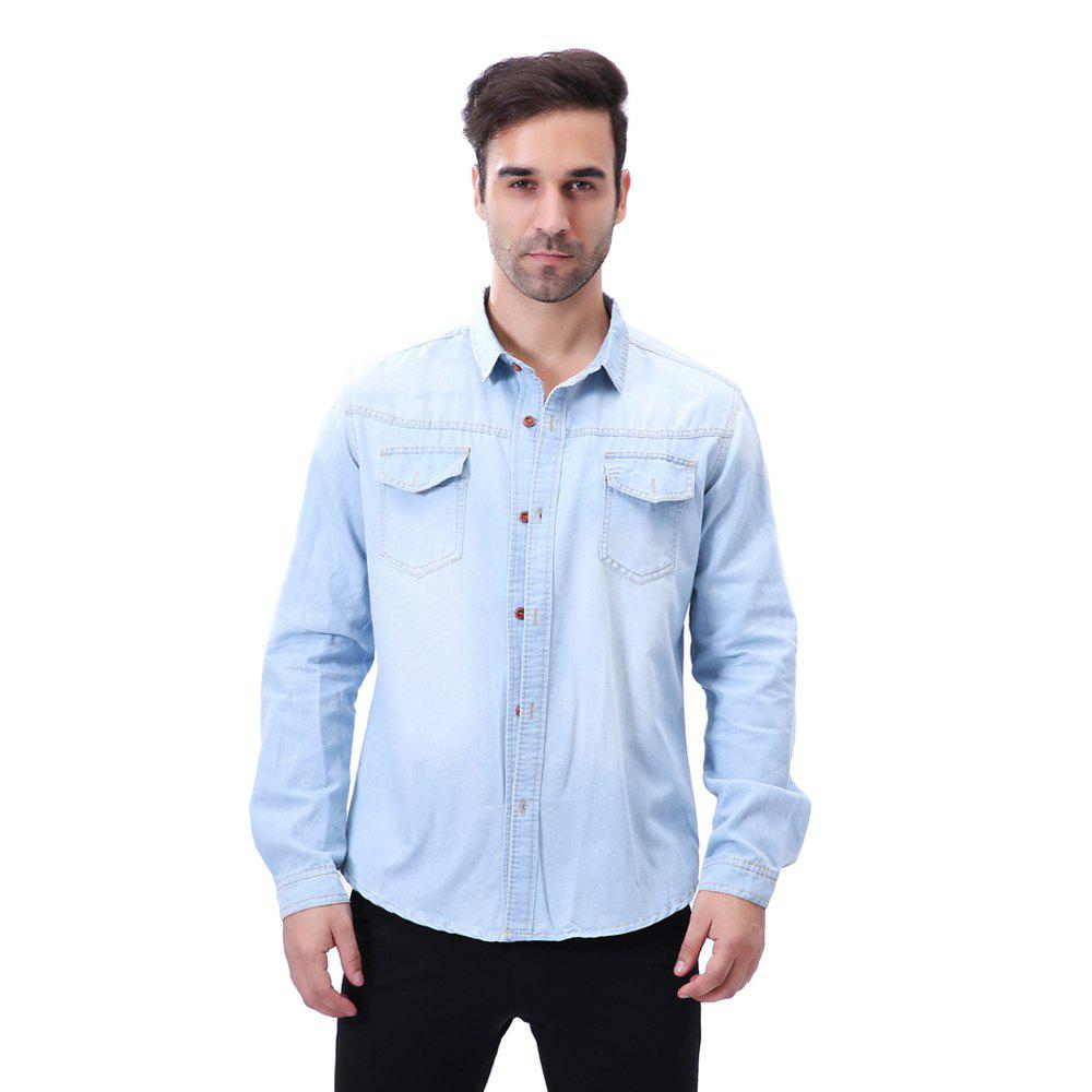 Fashion Pocket Decorations for Men'S Long Sleeved Jeans Shirt - LIGHT BULE 2XL