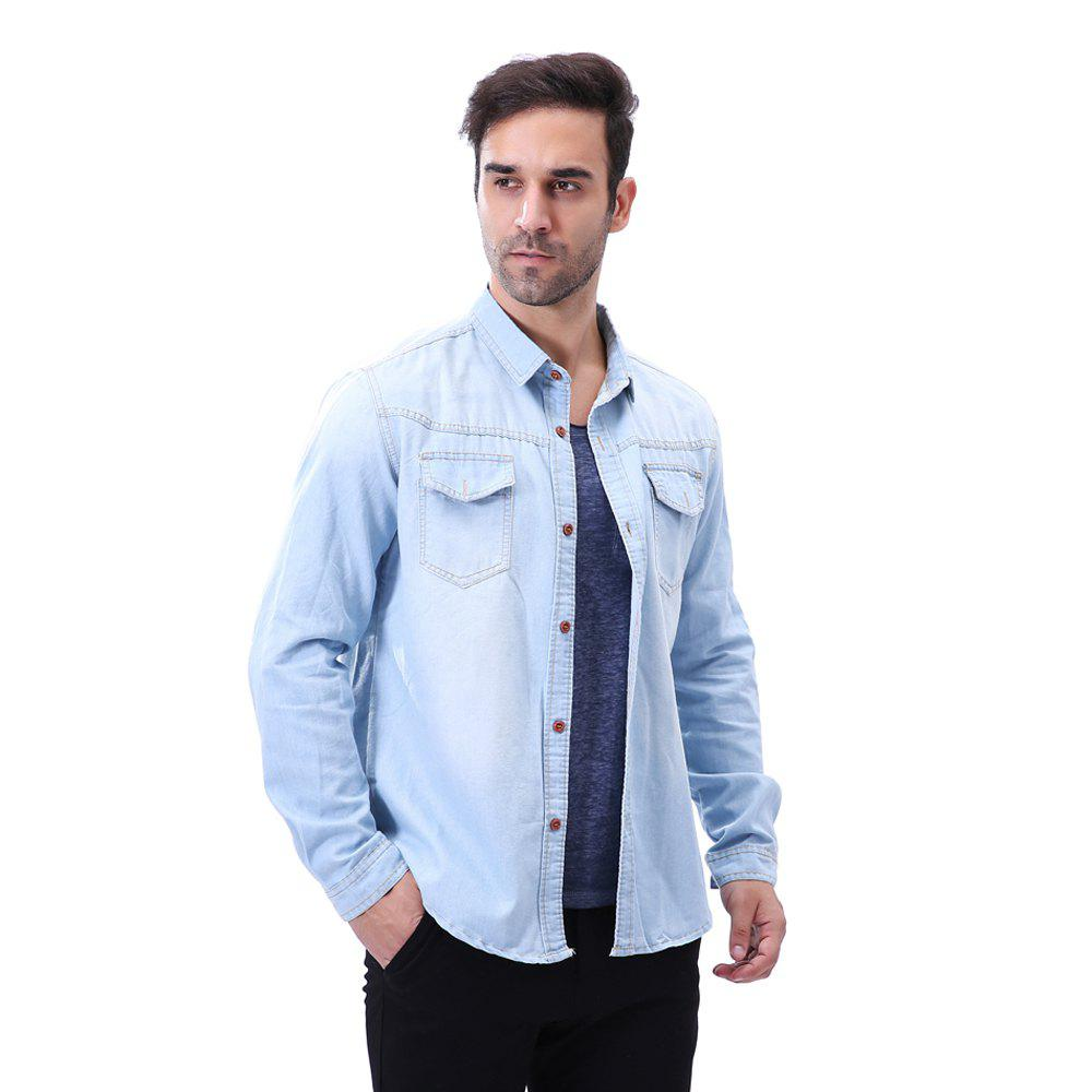 Fashion Pocket Decorations for Men'S Long Sleeved Jeans Shirt - LIGHT BULE 4XL