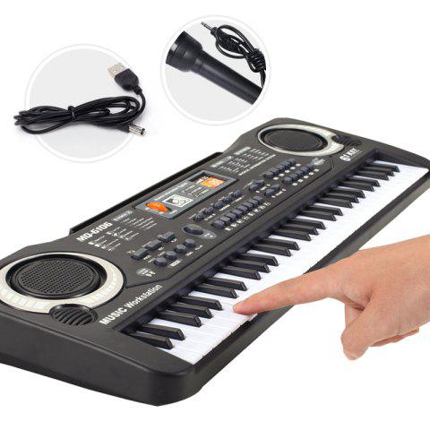 Multi-function 61 Keys Keyboard Electronic Organ with Microphone Music Simulation Piano Children Toys - BLACK