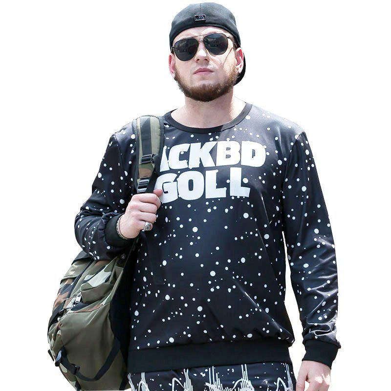 Large Size Autumn New Street Round Neck Print Letters Long Sleeves Hedging Men'S Sweatshirt PCW70046C - BLACK WHITE 5XL
