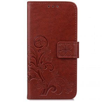 Lucky Clover Card Lanyard Pu Leather Cover for Meizu Note6 - BROWN BROWN