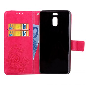 Lucky Clover Card Lanyard Pu Leather Cover for Meizu Note6 - ROSE RED