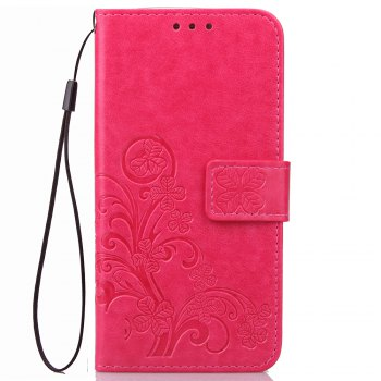 Lucky Clover Card Lanyard Pu Leather Cover for Meizu Note6 - ROSE RED ROSE RED