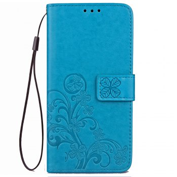 Lucky Clover Card Lanyard Pu Leather Cover for Meizu Note6 - BLUE BLUE