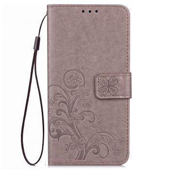 Lucky Clover Card Lanyard Pu Leather Cover for Meizu Note6 - GRAY GRAY
