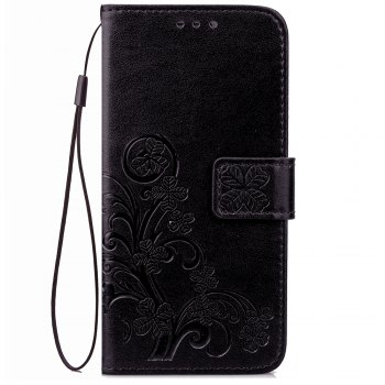 Lucky Clover Card Lanyard Pu Leather Cover for Meizu Note6 - BLACK BLACK