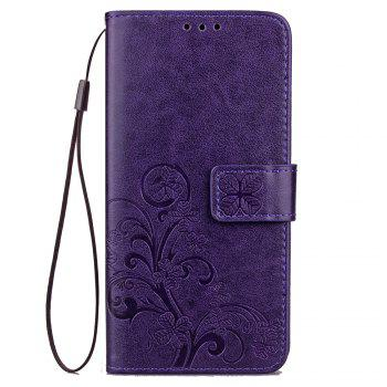 Lucky Clover Card Lanyard Pu Leather Cover for Meizu Note6 - PURPLE PURPLE