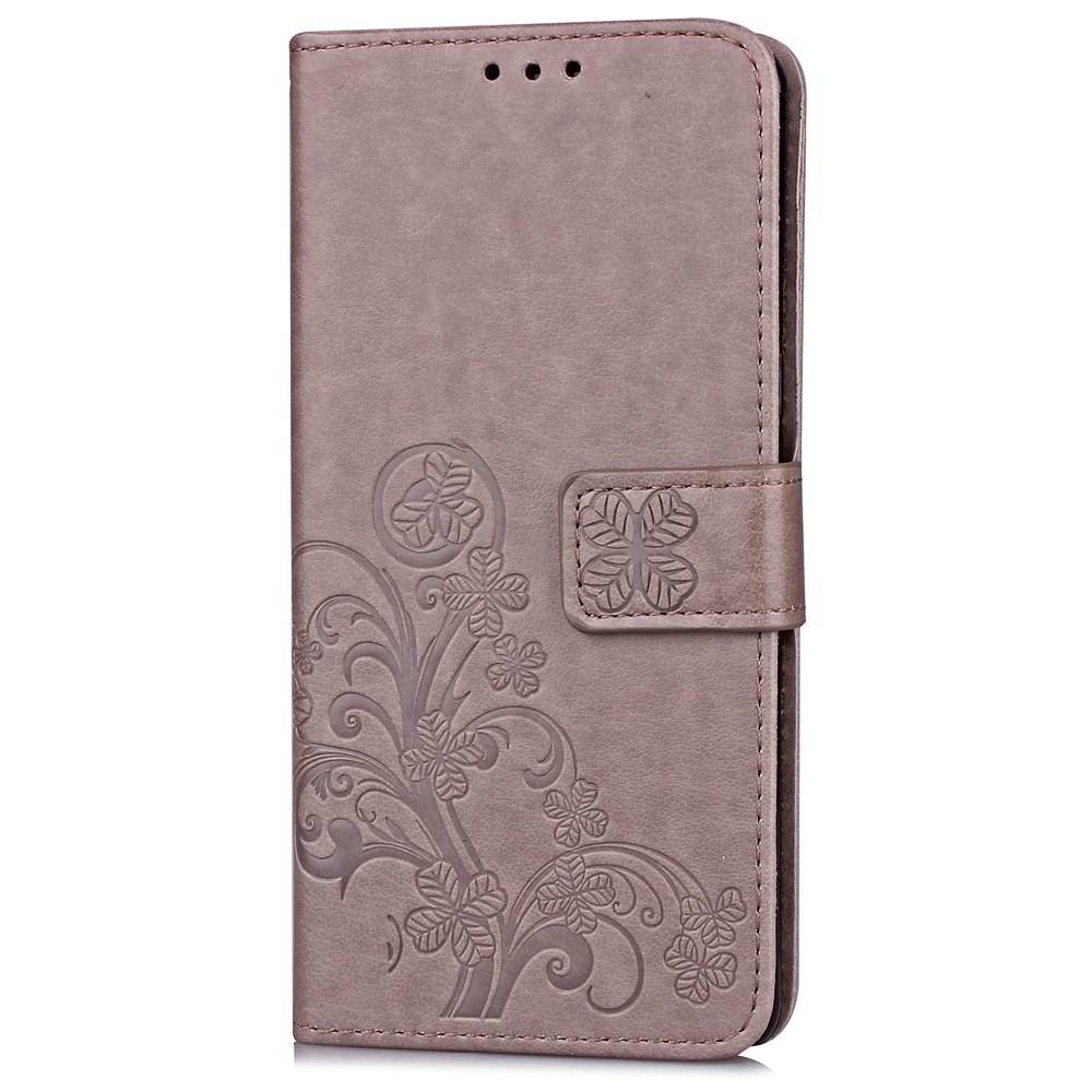 Lucky Clover Card Lanyard Pu Leather Cover for Meizu Note6 - GRAY