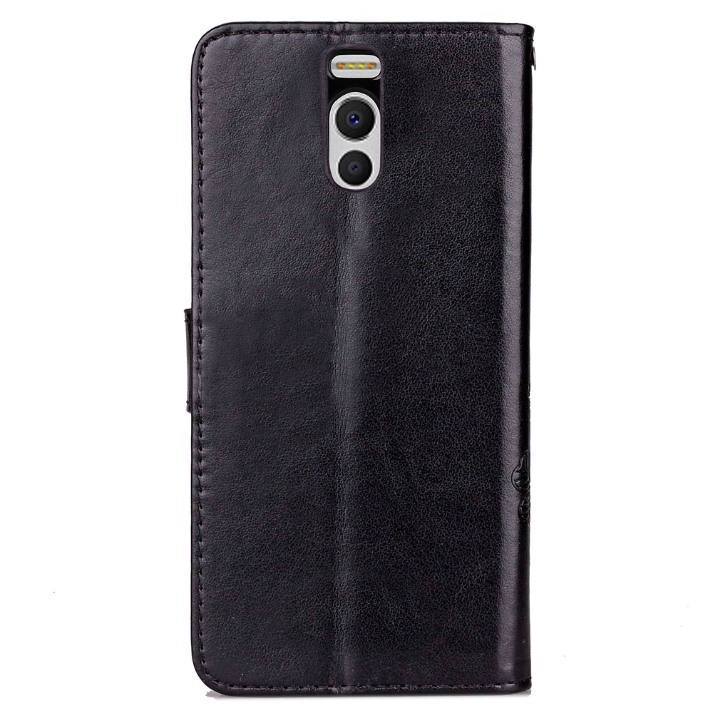 Lucky Clover Card Lanyard Pu Leather Cover for Meizu Note6 - BLACK