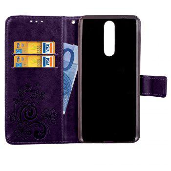 Lucky Clover Card Lanyard Pu Leather Cover for Nokia 8 - PURPLE