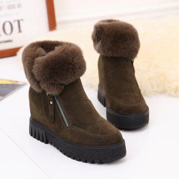 PCA19 Leisure Fashion Warm Comfortable and Pure Color with Round Head and Short Boots - KHAKI 36