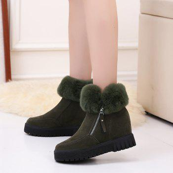 PCA19 Leisure Fashion Warm Comfortable and Pure Color with Round Head and Short Boots - ARMYGREEN 38