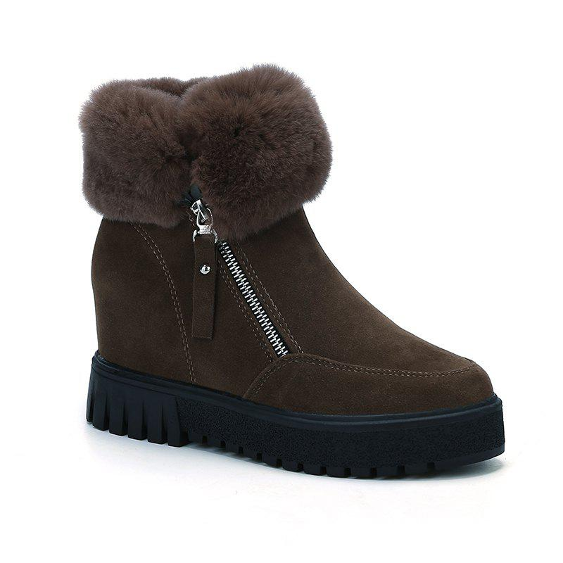 PCA19 Leisure Fashion Warm Comfortable and Pure Color with Round Head and Short Boots - KHAKI 39