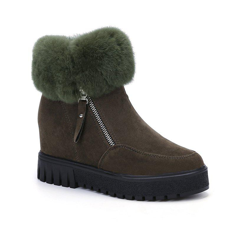 PCA19 Leisure Fashion Warm Comfortable and Pure Color with Round Head and Short Boots - ARMYGREEN 35