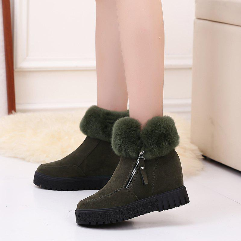 PCA19 Leisure Fashion Warm Comfortable and Pure Color with Round Head and Short Boots - ARMYGREEN 37
