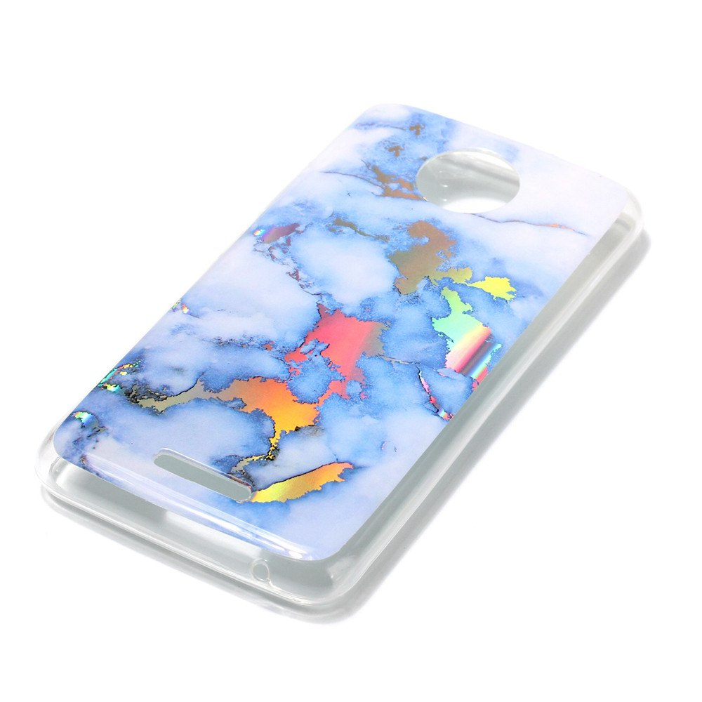 New Soft TPU case Brocatel Marble for Moto C - BLUE
