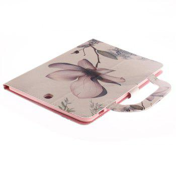 magnolia Leather Wallet Cover Design with Stand and Portable Card Slots Magnetic Closure Case for Samsung T815 - WHITE
