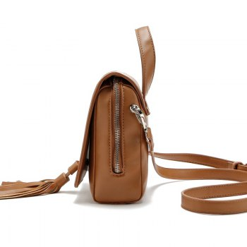 New small Tassel Women Handbag Messenger Bags Ladies Crossbody Bag Vintage Shoulder Bag - BROWN
