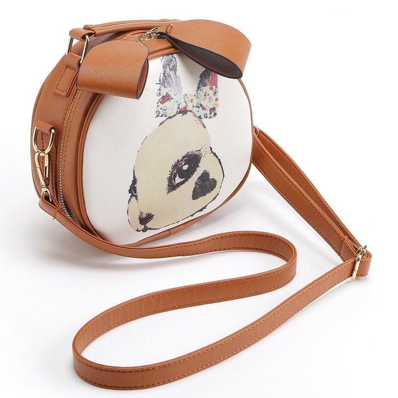 Rabbit Printing Bag Ladies Crossbody Bags Circle Women Leahter Handbags Shoulder Bag High Quality Women Messenger Bags - BROWN
