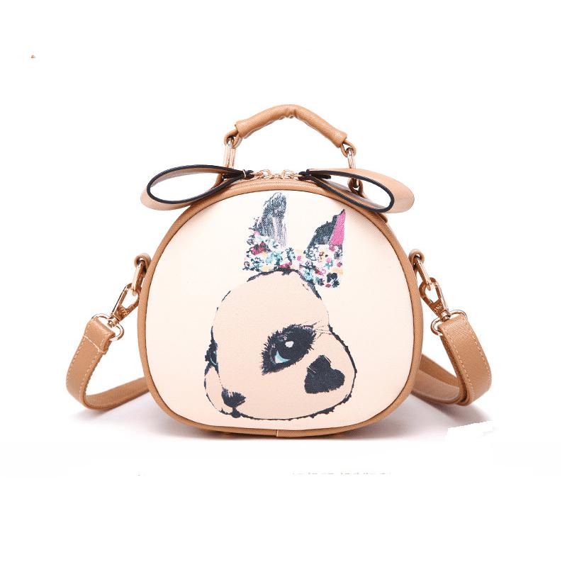 Rabbit Printing Bag Ladies Crossbody Bags Circle Women Leahter Handbags Shoulder Bag High Quality Women Messenger Bags - KHAKI