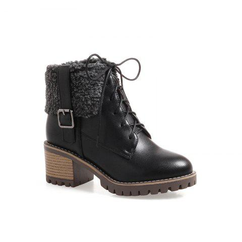 New Autumn And Winter New Comfort Large Air And Thick With Round Head Women's Boots - BLACK 34