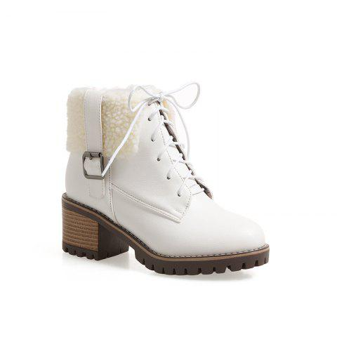 New Autumn And Winter New Comfort Large Air And Thick With Round Head Women's Boots - WHITE 36