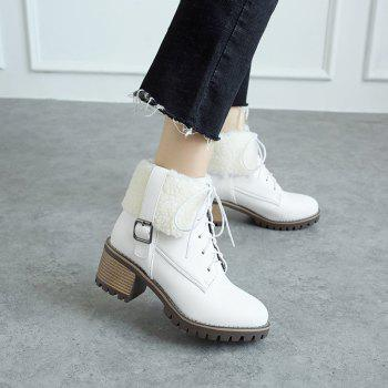 New Autumn And Winter New Comfort Large Air And Thick With Round Head Women's Boots - WHITE 37