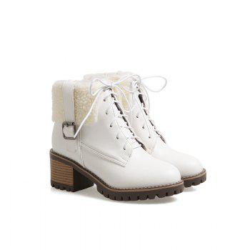 New Autumn And Winter New Comfort Large Air And Thick With Round Head Women's Boots - WHITE 35