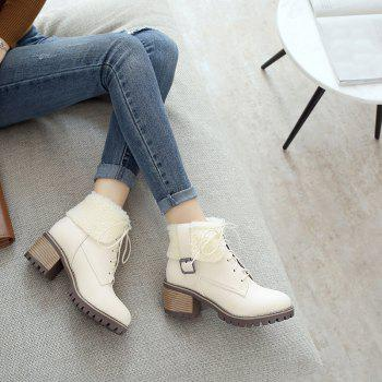 New Autumn And Winter New Comfort Large Air And Thick With Round Head Women's Boots - BEIGE 35