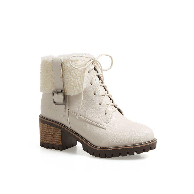 New Autumn And Winter New Comfort Large Air And Thick With Round Head Women's Boots - BEIGE 34