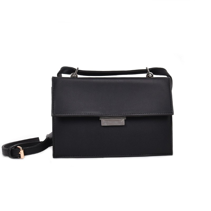 Simple All Match Solid Color Handbag for Women - BLACK