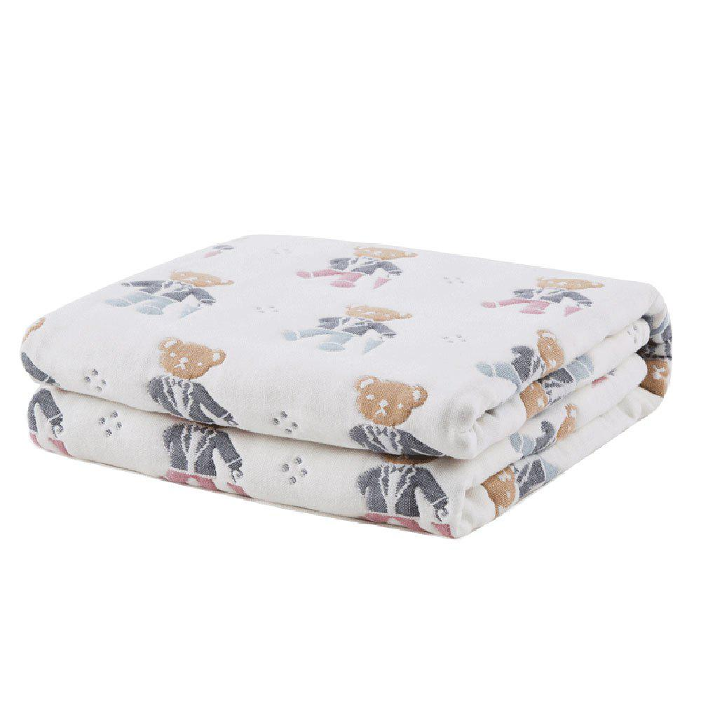 100 Percent Muslin Cotton Baby Gauze Swaddle Baby Receiving Blanket - BEAR PATTERN ONE SIZE