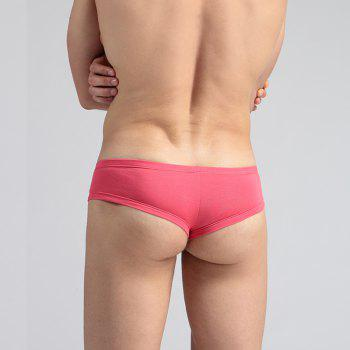 Low Waist Sexy Open Buttock Men's Underwear - RED RED