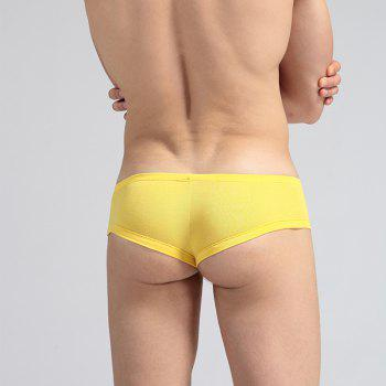 Low Waist Sexy Open Buttock Men's Underwear - YELLOW S