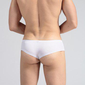Low Waist Sexy Open Buttock Men's Underwear - WHITE XL