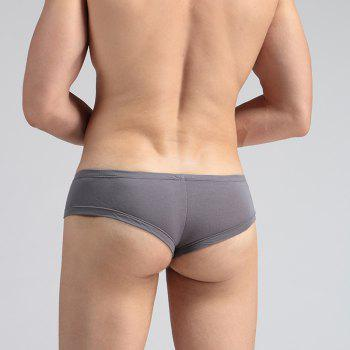 Low Waist Sexy Open Buttock Men's Underwear - GRAY L