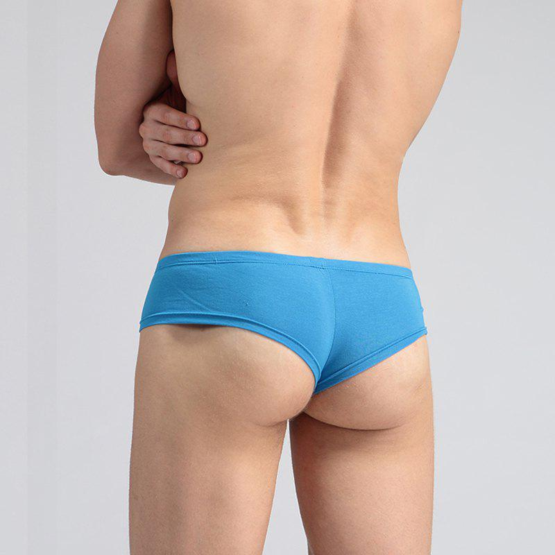 Low Waist Sexy Open Buttock Men's Underwear - COLOR BLUE M