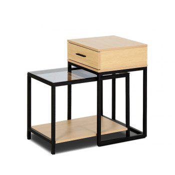 Nesting Table  Side Table 2-PIECE Tempered Glass Table with Drawer - YELLOW AND BLACK YELLOW/BLACK