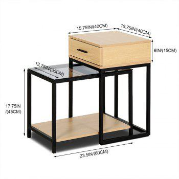 Nesting Table  Side Table 2-PIECE Tempered Glass Table with Drawer -  YELLOW/BLACK