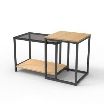 Nesting Table Set Sofa Side Table with End Table And Materials included Carbon Steel and Particleboard - YELLOW AND BLACK YELLOW/BLACK